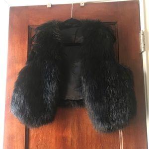 """Black faux fur """"jenny from the block"""" Akira Vest"""